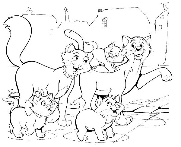 aristocats family being the road coloring pages - Aristocats Kittens Coloring Pages