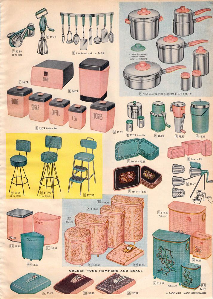1956 Sears Christmas - Kitchen sets-  My grandma had the pink hamper in the bottom right hand corner in her bathroom