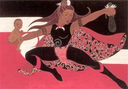 """Robyn Kahukiwa's Mauri Ora! Exhibition  """"Supa Hero"""" (1999)"""