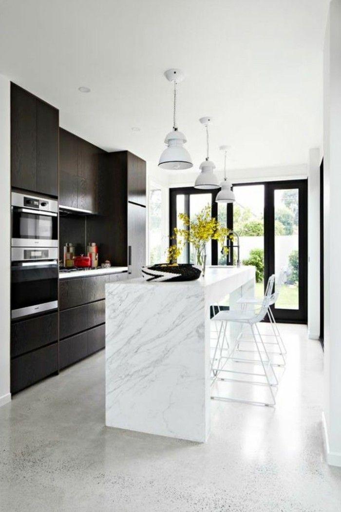 Le carrelage en marbre en 42 photos!   Cuisines design, Renovation cuisine et Béton ciré sol