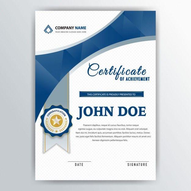 Diploma with blue shapes and a gray ribbon Free Vector