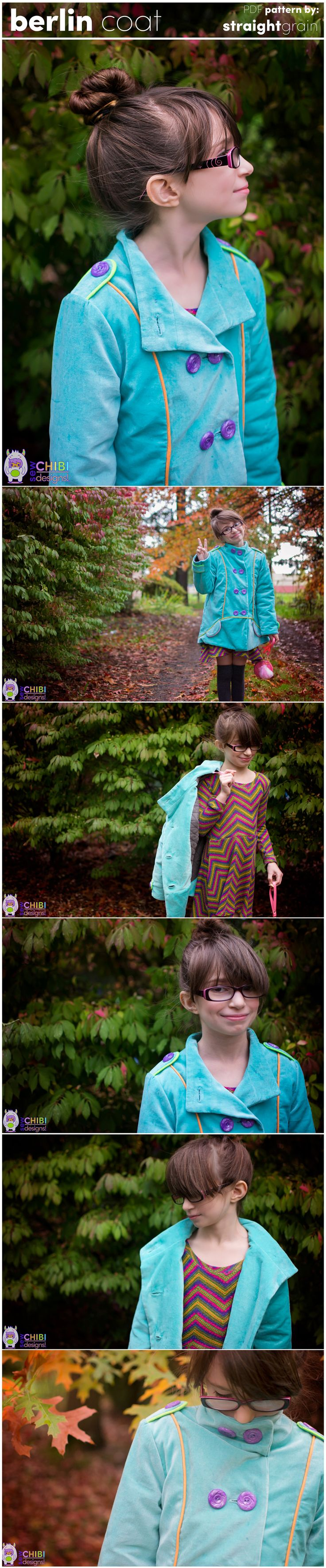 The Berlin Coat PDF Pattern by Straightgrain, sewn by Sew Chibi Designs. A pea-coat perfect for winter fashion sewing for the kiddos!