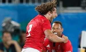 Dan Bibby and Marcus Watson celebrate Bibby's extra time try that sent Team GB…