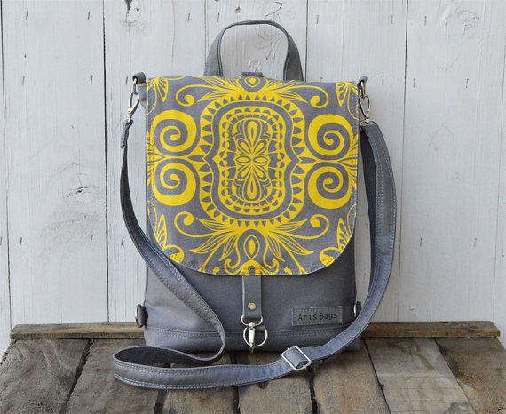 Canvas backpack, hippie rucksack, yellow charcoal convertible bag, unique gift for college students, birthday gift for women