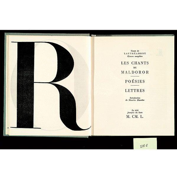 Pierre Faucheux, Mise en pages des Chants de Maldoror de Lautréamont, 1949. More here: http://editions205.fr/clubs/?p=1691