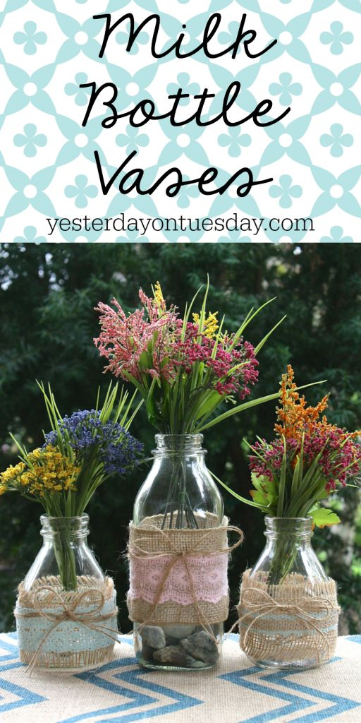 Burlap Wrapped Vases: Transform milk bottles with a few simple steps!