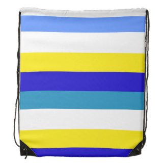Blue, yellow and white stripes drawstring backpack