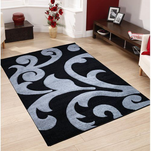 Epherus Black Grey Area Rug Metro Lane Rug Size Rectangle 160 X