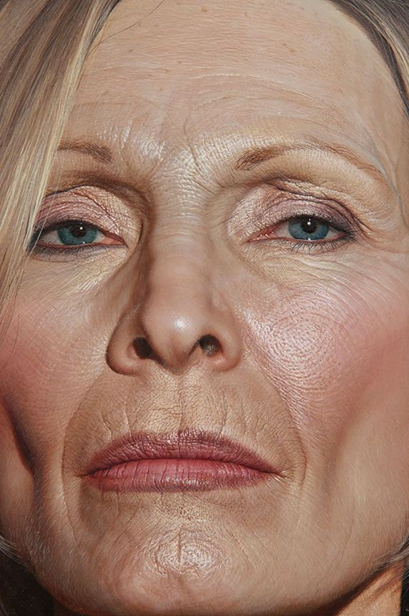 Bryan Drury - Oil on wood | 27 Stunning Works Of Art You Won't Believe Aren't Photographs- I love the look on this lady's face... It embodies everything that's wrong with our current conception of beauty and age..