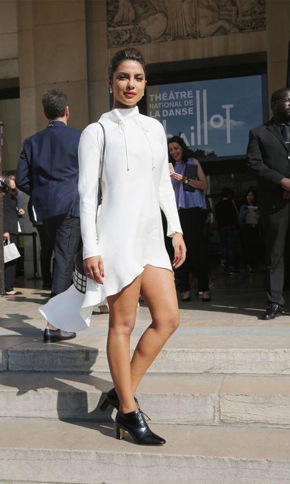 Priyanka Chopra went with a high-low white dress for the Giorgio Armani Prive show.