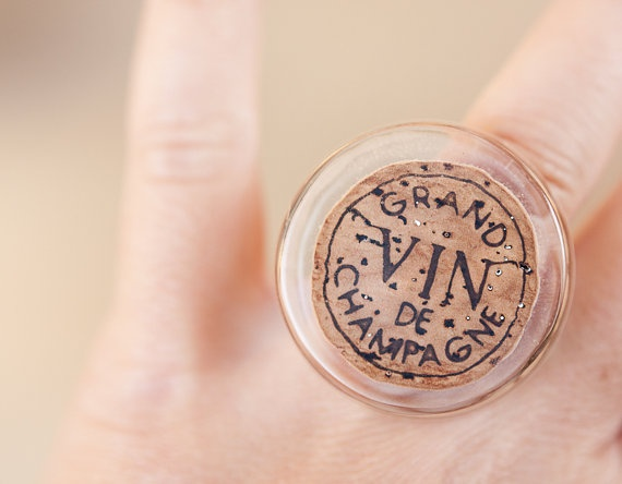 How fun! A Champagne Cork Cocktail Ring! Upcycled Wine French by daimblond,