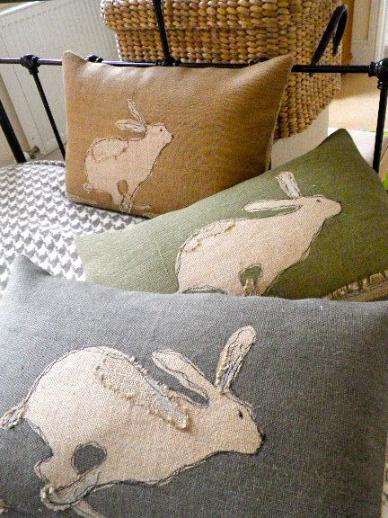 Handprinted rustic hessian hare cushion cover with applique detailing