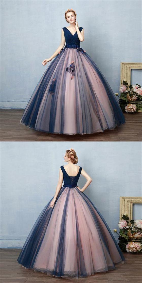 V-Ausschnitt Ärmellos A-Linie Applikationen Abiballkleider Lange Abendkleider von Hiprom, …   – Vestidos