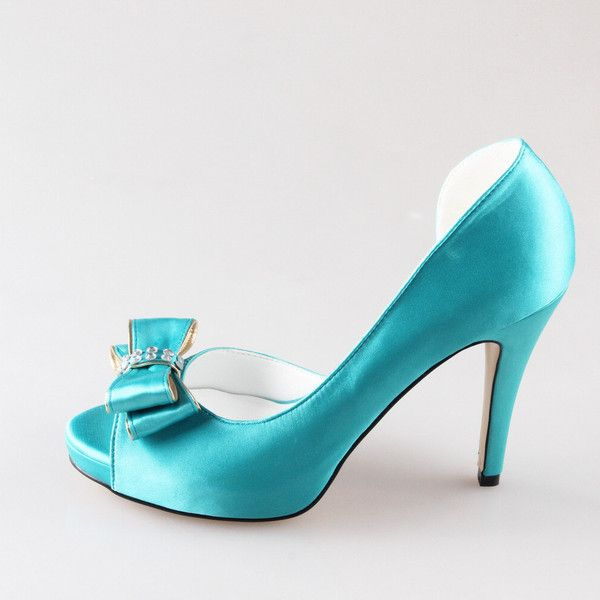 Handmade Turquoise D'orsay tiffany blue bow wedding shoes silk satin... (210 BRL) ❤ liked on Polyvore featuring shoes, turquoise shoes, peep toe shoes, open toe shoes, blue wedding shoes and peep-toe shoes