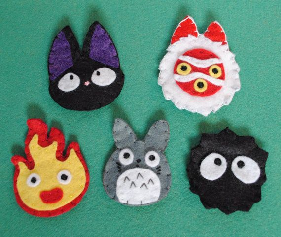 A set of cute hair clips featuring some characters from Studio Ghibli films! Each clip is completely hand sewn from wool felt, and attaches into your