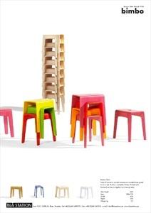 Blå Station | Bimbo Collection BIMBO Stackable wooden stool , design by Peter Brandt (1994)