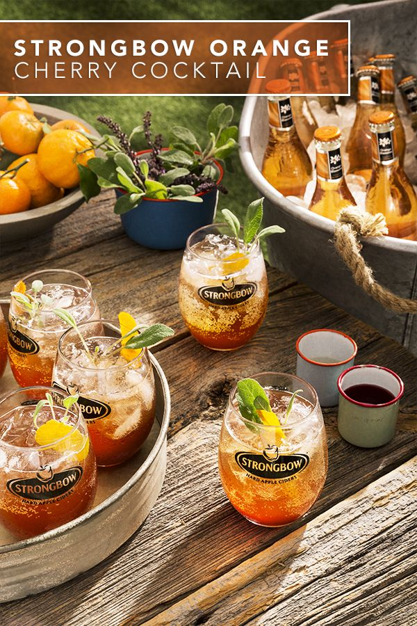 How to make a fresh Strongbow Orange Cherry Cocktail using Strongbow Orange Blossom Hard Cider and fresh rosemary & tequila. You can serve this refreshing flavorful drink at a summer BBQ, picnic, or during a simple meal outdoors.