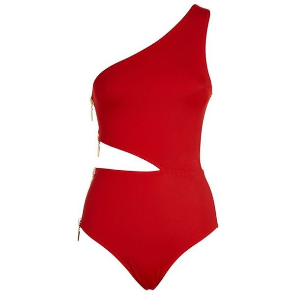 Oye Single Shoulder Swimsuit ($355) ❤ liked on Polyvore featuring swimwear, one-piece swimsuits, one shoulder swimwear, zipper bathing suit, bathing suit swimwear, one shoulder bathing suits and cut-out swimsuits