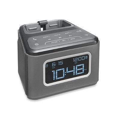Dual alarm clock works with all Bluetooth-enabled devices. Features a universal dock that fits any smartphone while streaming audio or charging through the USB port. A cool, built-in speakerphone allows you to answer/end calls through the unit.
