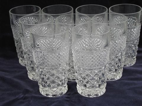 Wexford Waffle Pattern Pressed Glass Tumblers Anchor Hocking Vintage Depression Glass