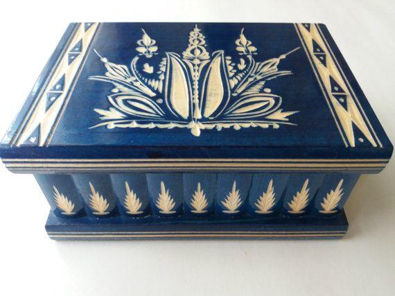 Nuevo gran azul madera puzzle caja tesoro secreto aventura misterio caja mágica joyería almacenamiento madera caso pecho escondido cajón caja de juguete de regalo