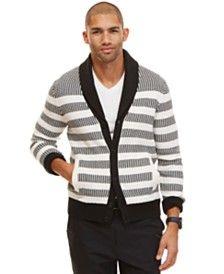 Nautica Men's Striped Shawl Neck Cardigan
