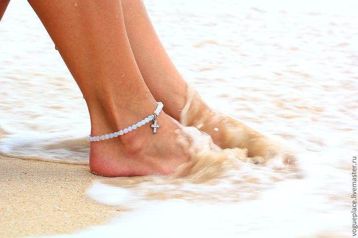 Браслет на ногу из имитации Лунного камня - браслет на ногу,браслет на ножку