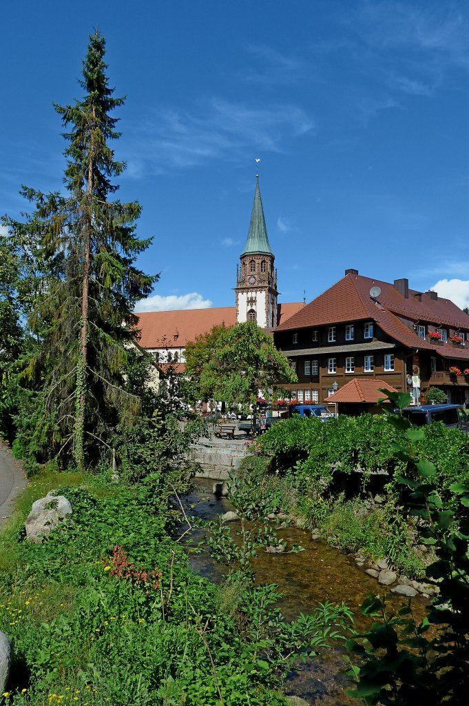 Glottertal im Schwarzwald  Black Forest). View of the Glotter (river), the church the Hotel  Zum Goldenen Engel - Germany