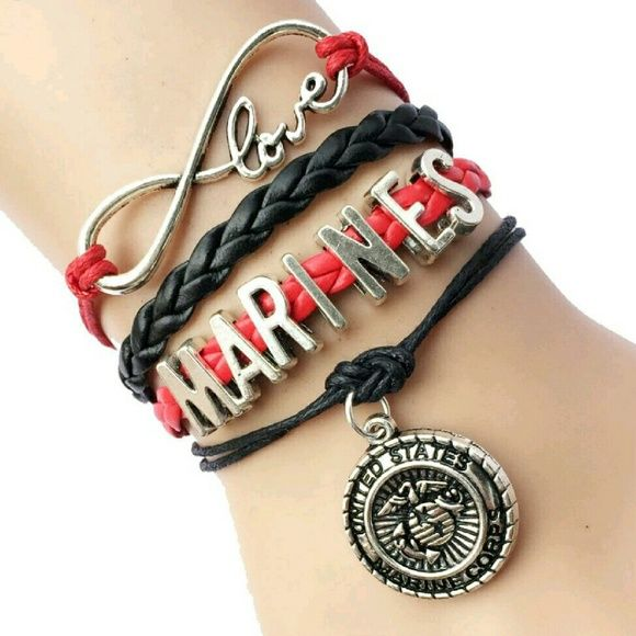Marine Corps Infinity Bracelet Marine Corps Infinity Bracelet Red and black with silver plated accents Adjustable clasp for any size wrist Price is firm unless bundled I always bubble wrap everything Fast shipping :) Tags USMC Marine Wife Mom Grandma Sister Marine Corp Military Support Our Troops Jewelry Bracelets