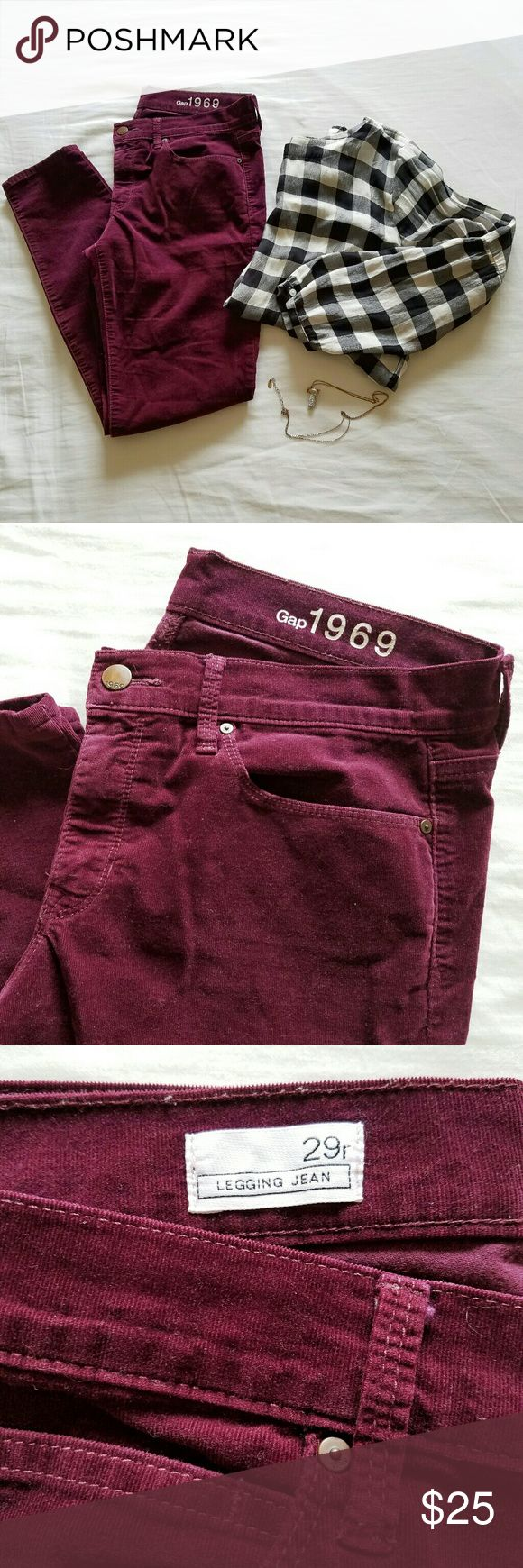 """Gap Burgundy Corduroy Legging Jean Burgundy corduroy legging jean from Gap. 78% cotton, 22% elasterell. Size 29 Regular. MEASUREMENTS LAYING FLAT:  length 37.5""""/ inseam 28"""".  Worn only a handful of times, in good condition! Reasonable offers are very welcomed :) GAP Pants Skinny"""