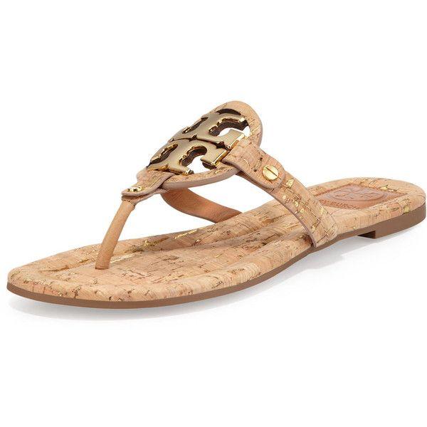 Tory Burch Tory Burch Miller Cork Logo Thong Sandal, Natural ($101) ❤ liked
