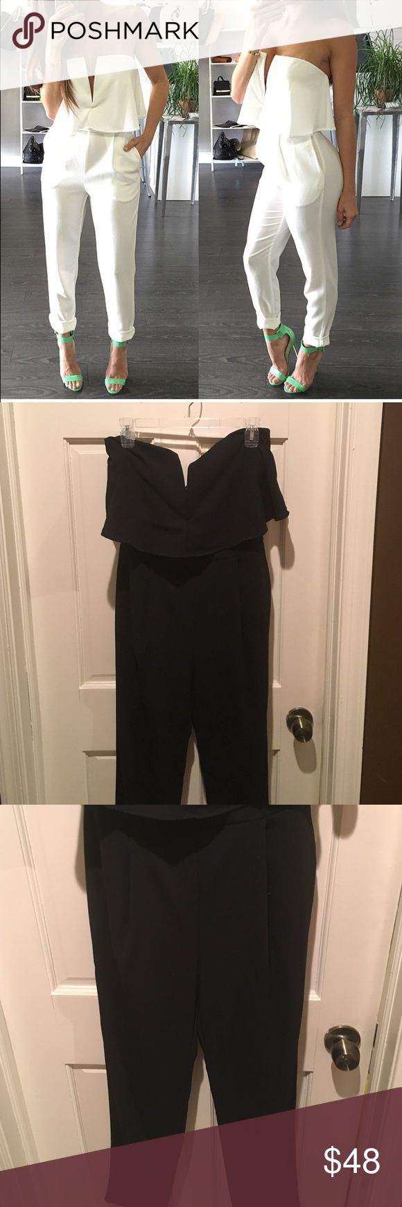 Black Deep V Romper Deep V black romper with side pockets! Size Medium. Great for a night out with friends or that special someone! Cover photo was put up to really show the look of the romper, it is the exact romper shown only in black! Pants Jumpsuits & Rompers