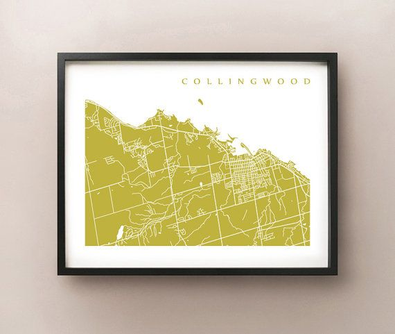 Collingwood Map Print - Ontario Art - Canada Poster - Choose size and colour