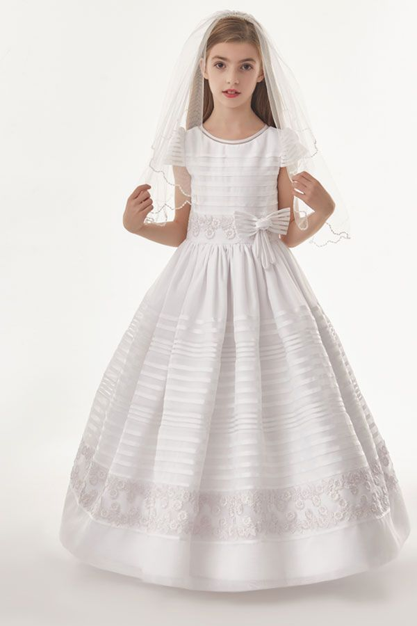 Organza Ball Gown 3/4 Sleeves Bow(S) Floor Length Communion Dress