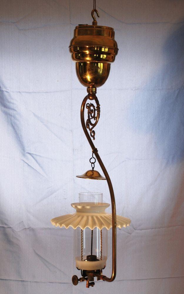 Antique Ann Arbor Superior Hanging Gas Lamp Petticoat
