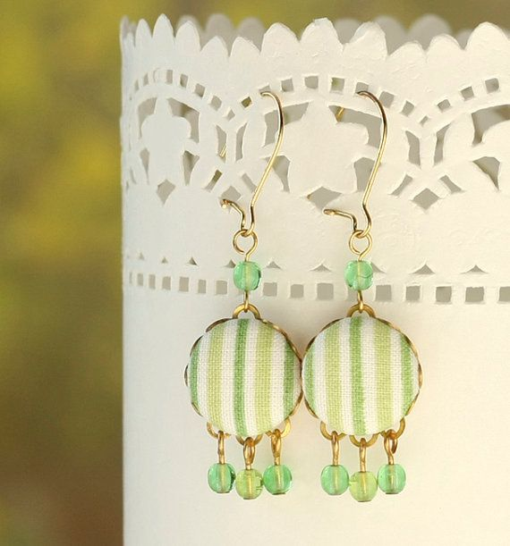 Dangle Earrings - Fresh Green - Green and White Stripes Fabric Covered Buttons Earrings with Czech Glass Beads By PatchworkMill Jewelry