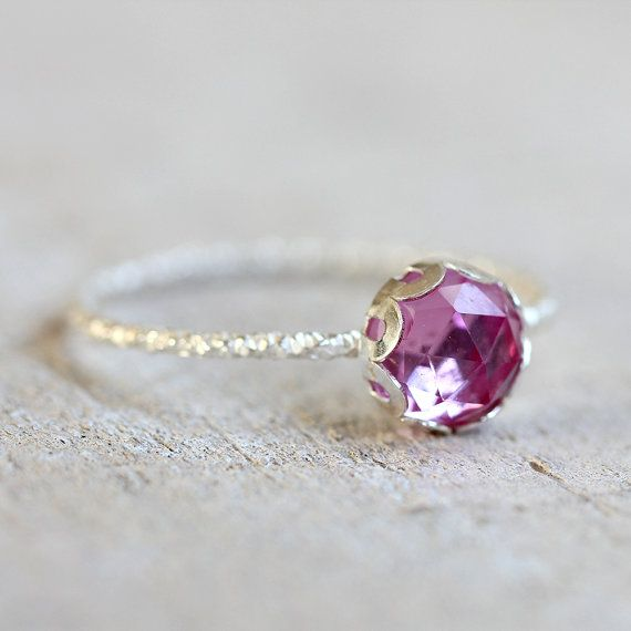 Pink sapphire gemstone ring by PraxisJewelry on Etsy