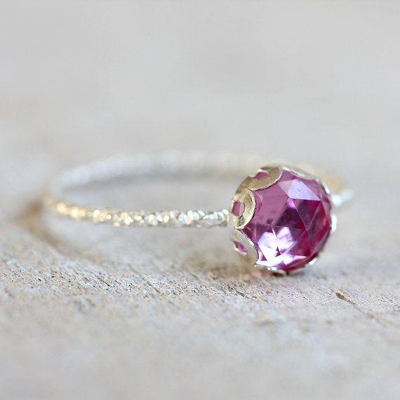 Anello pietra preziosa zaffiro rosa di PraxisJewelry su Etsy