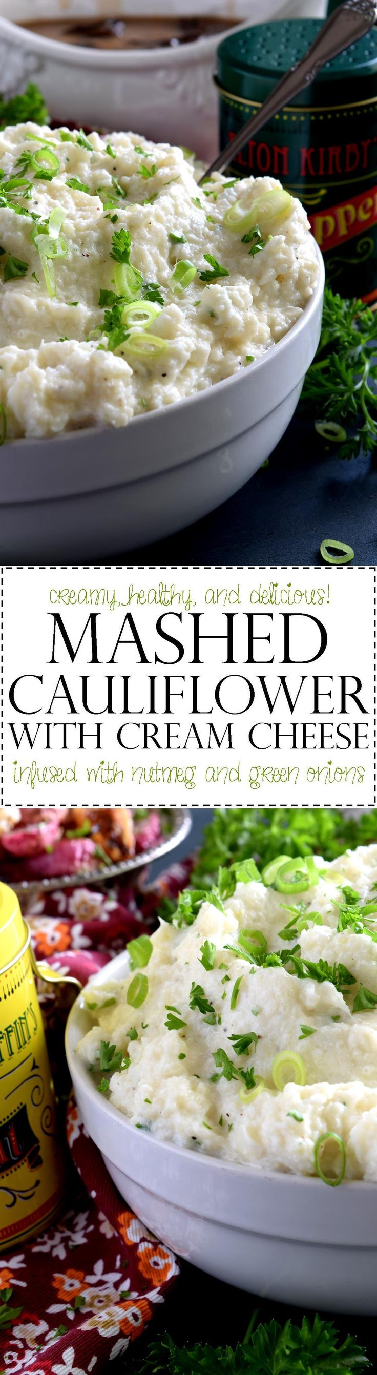 Mashed Cauliflower with Cream Cheese - A mashed potato substitute that's health conscious and free of butter and heavy cream.  Mashed Cauliflower with Cream Cheese is creamy, flavourful, and delicious.  The addition of fresh green onions adds a crisp, refreshing taste.