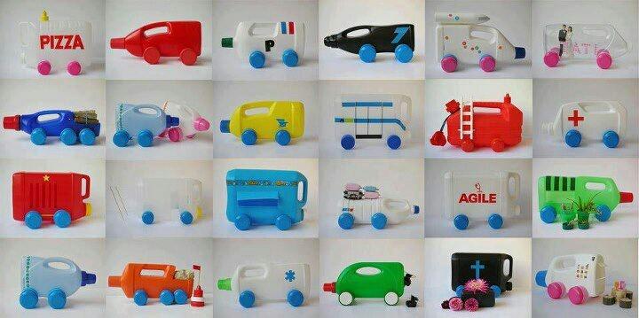 Origineel idee voor auto's met plastic flessen