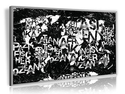 PinnArt Design Weltkarte Marble Stone Black in Alurahmen 79,9 x 49,5 – Bojan Kijevcanin