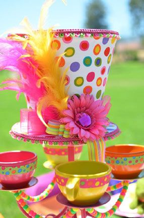 Mad Hatter Table decorations from Pam's Party Props. www.facebook.com/pamspartyprops