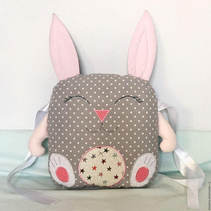 Купить Бортик-подушка Зайка - серый, розовый, детский, горошек, бортики в кроватку, бортики