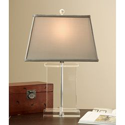 Overstock.com:  1/4 the price of RH:  Crystal Rectangular Column Table Lamp (Sage):  $101.99.  Bedroom or living room.