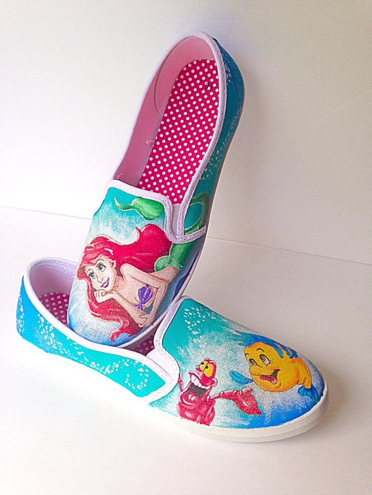 Little mermaid shoes - Ariel shoes - painted shoes - mermaid gift - custom shoes - little mermaid gift - ariel birthday party - ariel outfit