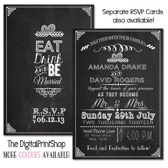 Wedding Reception Invitation Card Chalkboard By DigitalPrintShop