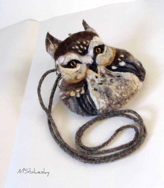 OWL Wet Felted bag by MSbluesky