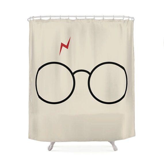 Harry Potter Shower Curtain, Children Bathroom, Geek Bath, Funny Curtains,  Cream Design, Decoration Bath, Fantasy Gift, Glasses, Nerd Design