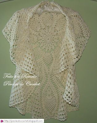 YESSS ....What a pretty Circular Jacket free crochet graph pattern OR upcycle a round crochet tablecloth