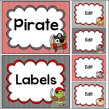Pirate Theme Labels: Let your imagination soar when you decorate your classroom using these fun labels! This value packed set includes 23…